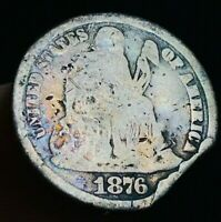 1876 CC SEATED LIBERTY DIME 10C DOUBLED DIE OBVERSE FS 102 US SILVER COIN DD2185