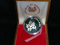 S 28: SINGAPORE SILVER PROOF 50$ 1981 IN TEAKWOOD BOX NO CER