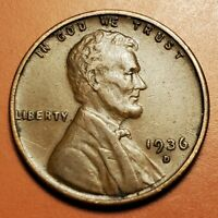 1936 D LINCOLN WHEAT CENT HIGHER GRADE H2254