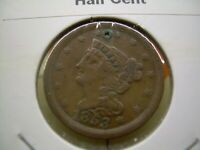 1853 BRAIDED HAIR HALF CENT  ONLY 129 694 MINTED . NICE COND