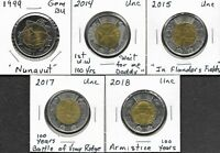 CANADA CANADIAN 2 $ DOLLAR TOONIES COMMEMORATIVE COINS LOT O