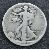 1921-S WALKING LIBERTY SILVER HALF DOLLAR FINE HONEST UNGRADED COIN SHIPS FREE
