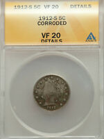 1912-S LIBERTY NICKEL, GREAT  FINE DETAIL, KEY DATE ANACS VF 20 CORROSION