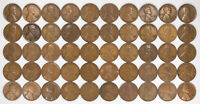 1932 D LINCOLN WHEAT CENT PENNY 1C G - F GOOD TO FINE FULL ROLL 50 COINS