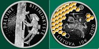 LITHUANIA NATURE 10 EURO 2020 TREE BEEKEEPING  BEES HONEY SILVER COIN