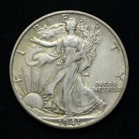 1941-S WALKING LIBERTY SILVER HALF DOLLAR EXTRA FINE  BB4896