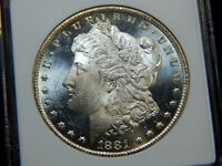1881-CC $1 MORGAN DOLLAR MINT STATE 65DMPL ANACS,  & WHITE LOOKS 66,  CAMEO