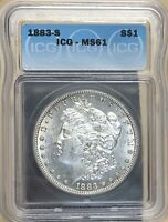 1883 S MORGAN SILVER DOLLAR ICG MINT STATE 61 COIN -  IN UNCIRCULATED -  LUSTER