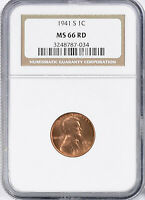 1941-S LINCOLN WHEAT CENT - NGC MINT STATE 66 RD 787-034