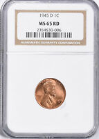 1945-D LINCOLN WHEAT CENT - NGC MINT STATE 65 RD 530-006