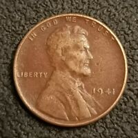 1941 P LINCOLN WHEAT CENT PENNY 1C RED BROWN TONED FINE DETAILS P2087