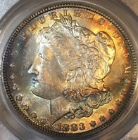 1883-P MORGAN DOLLAR PCGS MINT STATE 65 CAC RAINBOW TONED GEM DUAL SIDE TONING