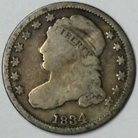 1834 10C CAPPED BUST DIME G UNCERTIFIED