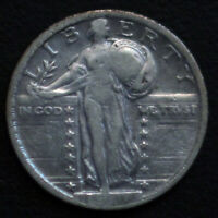 1917 TYPE 2 STANDING LIBERTY SILVER US QUARTER. F-VF.