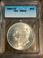 1884 CARSON CITY MINTED MORGAN SILVER DOLLAR--ICG MINT STATE 63--BEAUTIFUL 90 SILVER