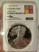 1991-S MERCANTI PROOF SILVER EAGLE NGC PF70UCAM