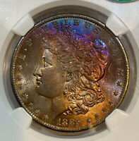 1885-O MORGAN DOLLAR NGC MINT STATE 64 CAC COBALT/LAVENDER RAINBOW TONED SEE VIDEO