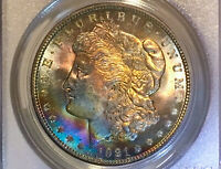 1921-P MORGAN DOLLAR PCGS MINT STATE 64 VIBRANT RAINBOW TONED LY SEEN IN RAINBOW
