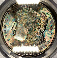 1881-S MORGAN DOLLAR PCGS MINT STATE 63 RAINBOW TONED WITH GOLD SHIELD NFC TECHNOLOGY