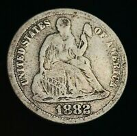 1882 SEATED LIBERTY DIME 10C HIGHER GRADE GOOD DATE VG 90 SILVER US COIN CC2355