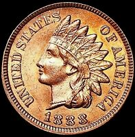 1888 INDIAN HEAD CENT PENNY, BRILLIANT RED,  SOLID LUSTROUS GEM BU