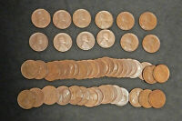 ROLL OF 1919-S LINCOLN PENNIES, FINE. 50 COINS