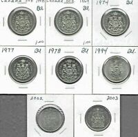 CANADA CANADIAN 50 CENT COINS  1968   2003   LOT OF 8   ALL