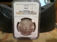MORGAN SILVER DOLLAR MINT STATE 64 NGC 1900 BRIGHT WHITE COIN