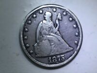 US 1875 CC SILVER TWENTY CENT COIN RARE  VF   REALLY NICE CO