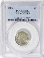 1883 LIBERTY NICKEL WITH CENTS PCGS MINT STATE 63