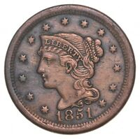 TOUGH   1851 BRAIDED HAIR LARGE CENT   US EARLY COPPER COIN