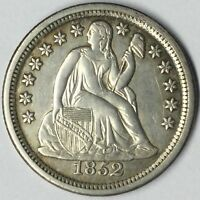 1852 10C SEATED LIBERTY DIME AU DETAILS UNCERTIFIED