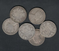 1902 10  CANADA SILVER 50 CENTS   LOT OF 6