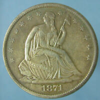 HIGH GRADE & NICELY TONED 1871 S LIBERTY SEATED HALF DOLLAR