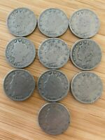 BIG LOT 10 EARLY 1900S LIBERTY HEAD V NICKEL COINS OLD US 5C COLLECTION
