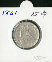 US COIN 1861 SEATED LIBERTY QUARTER
