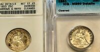 1853 A&R AND 1861 SEATED LIBERTY QUARTERS ANACS/ICG AU/BU DETAILS