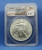 2010 AMERICAN SILVER EAGLE 999 1 OUNCE ANACS MS 70 FLAG LABEL 3634794022