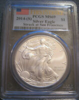 2014 S SILVER EAGLE 1 OZ MINT STATE 69 FIRST STRIKE PCGS // FLAG LABEL // MC 318
