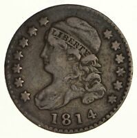 1814 CAPPED BUST DIME - STATES OF AMERICA - CIRCULATED 6172