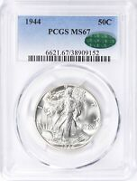 1944 PCGS MINT STATE 67 CAC WALKING LIBERTY SILVER HALF DOLLAR 50C PQ BLAST WHITE