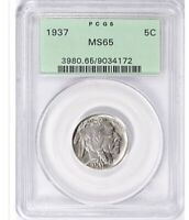 1937 BUFFALO NICKEL PCGS MINT STATE 65 OGH