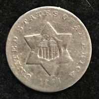 1851O US THREE CENT SILVER VG DETAILS WEAK STRUCK OBVERSE/OLD CLEANING