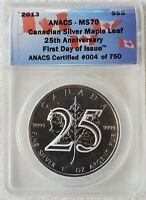 2013 CANADIAN SILVER MAPLE LEAF 25TH ANNIVERSARY ANACS MS70 FIRST DAY CANADA