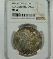 1891-CC MORGAN SILVER DOLLAR TOP 100 VAM-3 SPITTING EAGLE NGC MINT STATE 61  549