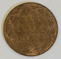 CANADA 1910 EDWARD VII LARGE ONE CENT TRACE RED BEAUTIFUL WOOD GRAIN