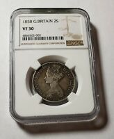 1858 UK GREAT BRITAIN VF 20 NGC 1 FLORIN 1/10 POUND SILVER V