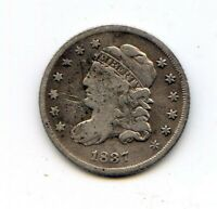 1837 CAPPED BUST HALF DIME LARGE C.