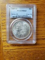 1887-O MORGAN SILVER DOLLAR PCGS MINT STATE 63 BETTER DATE