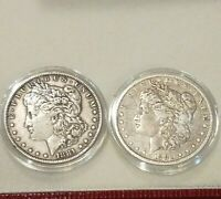 EARLY 1880 O/P MORGAN SILVER DOLLAR COIN N 90 SILVER US COIN SET OF TWO